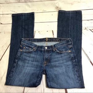 7FAMK Lightly Distressed & Faded Boot Jeans